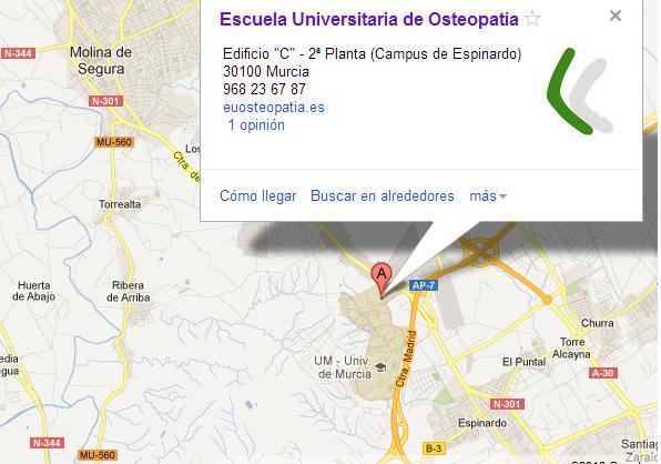 Mapa Escuela Universitaria en Osteopatía