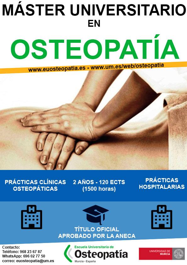 Reserva de plaza del Máster Universitario en Osteopatía