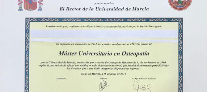 Ya están disponibles los títulos del Máster Universitario en Osteopatía.