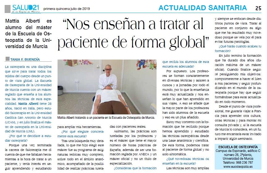 Mattia Alberti, alumno de nuestra escuela en el periódico Salud 21